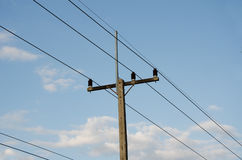 Rural electrical post by the road Royalty Free Stock Photography
