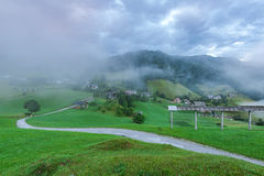 Rural empty road leading to Sorica village in Slovenia.  stock images