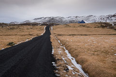 Rural empty winter road Iceland Royalty Free Stock Images