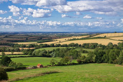 Rural England. In autumn green grass and blue sky with clouds Royalty Free Stock Photography