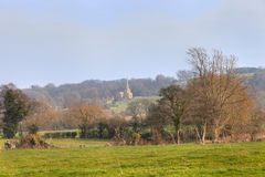 Rural England scene with church Royalty Free Stock Photos