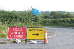 Rural English highway diversion signs. A set of road diversion signs on a lane in rural Somerset, England Royalty Free Stock Photos