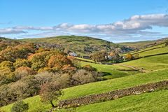 A rural English scene with Autumn trees. stock photography