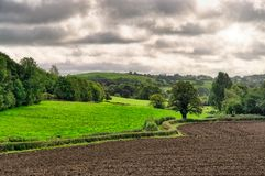 A rural English scene with a ploughed field. stock photography