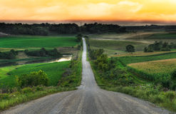 Rural Evening - Center of Road Royalty Free Stock Photos