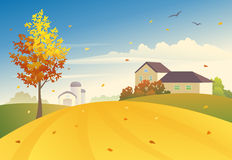 Rural fall. Illustration of an autumn field and tree Royalty Free Stock Photos