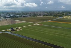 Rural farm fields with natural food growing in Netherlands. Agricultural fields with natural organic food crops growing in Netherlands.Aerial drone landscape of royalty free stock photo