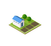 Rural farm in isometric. View with trees and garden Royalty Free Stock Photography
