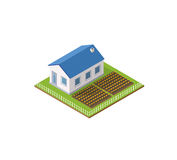 Rural farm. In isometric view with trees and garden Stock Images