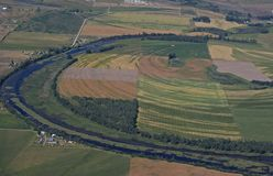 Rural farm land. Aerial view of rural farm land in western Montana USA Stock Images