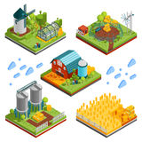 Rural Farm Landscape Elements. Farm rural buildings isometric compositions set with square segments of ranch reservation with plantations mills reservoirs vector Royalty Free Stock Image