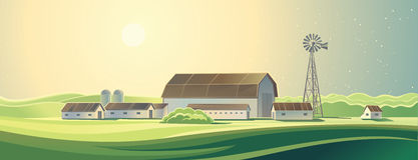 Rural farm landscape. Stock Photo