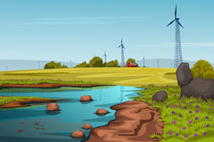 Rural farm landscape with windmill Stock Photo