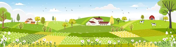 Free Rural Farm Landscape With Green Fields, Farm House, Barn, Animals Cow, Blue Sky And Clouds,  Vector Cartoon Spring Or Summer Stock Images - 169912484