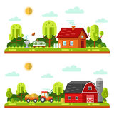 Rural and farm landscapes. Flat design vector landscape illustrations with farm building, house, bench, fountain or drinking bowls for birds, tractor. Farming Royalty Free Stock Photo