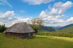 Rural farm with old hut Bran, Carpatians Royalty Free Stock Photography