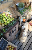Rural farm shop. A portrait image of organic produce from a farm shop in England Stock Image