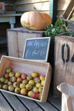 Rural farm shop produce. A portrait image of organic produce from a farm shop in England Stock Photography