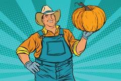 Rural farmer and pumpkin, holiday thanksgiving Stock Photos
