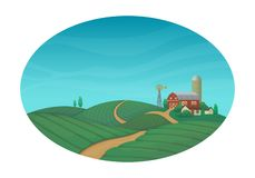 Rural farming  vector illustration. Farm house, barn, silo, windmill with bushes and trees. Green agricultural fields with a road stock illustration