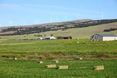 Rural farmland and wind turbines. Royalty Free Stock Image