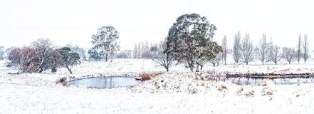 Rural farmlands in country Australia after fresh snow falls royalty free stock photo