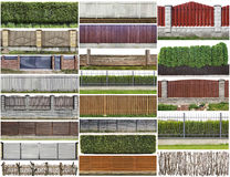 Rural fence and hedge set Royalty Free Stock Images