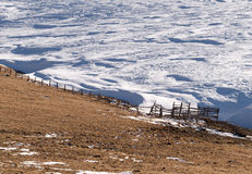 Rural fence snow Stock Photography