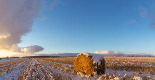 Rural field with cut grass and the first snow in Russia, Ural. Rural field with mowed grass, haystack and the first snow in Russia, Ural Stock Photo