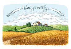 Rural field with ripe wheat on background of mill, village and clouds. Color vector illustration vector illustration