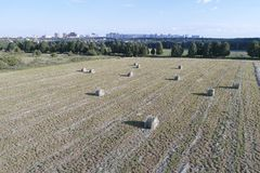 Bales of hay on field, drone flying above the bales of hay Royalty Free Stock Photos