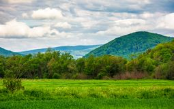 Rural fields on a cloudy day. Lovely springtime scenery of mountainous countryside royalty free stock image