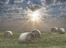 Rural fields with harvested hay. Royalty Free Stock Photo