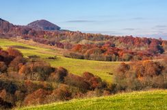 Rural fields on hills in autumn. Beautiful mountainous scenery with red foliage on trees Royalty Free Stock Photos