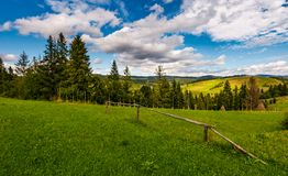 Rural fields on hills in mountains near forest. Rural fields behind the wooden fence on hills in mountainous area near forest. lovely countryside landscape in Stock Photos