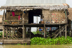 Rural Fishermen Houses in Cambodia Royalty Free Stock Photo