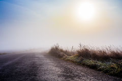 Rural foggy road going to the sunrise Royalty Free Stock Photography