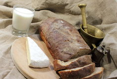 Rural food. Black bread and milk Stock Photography