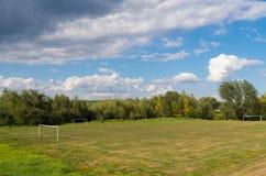 Rural football field Royalty Free Stock Photo
