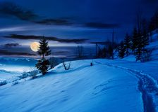 Rural footpath through snowy hillside at night Stock Images
