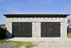 Rural garage from slag blocks Royalty Free Stock Images