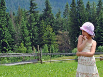 Rural  girl. Small rural girl on meadow on background wood Stock Photo