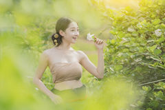 Rural girl. Country girl portrait in outdoors,beautiful happy Asian girl smile and laugh together Stock Image