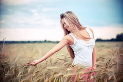 Rural girl in field Stock Photo