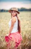 Rural girl in field Stock Photo