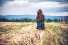 Rural girl in field Stock Photos