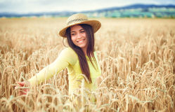 Rural girl in field Stock Images