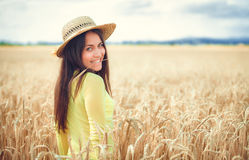 Rural girl in field Royalty Free Stock Photos