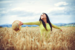 Rural girl in field Stock Photography