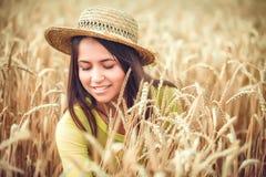 Rural girl in field Stock Image